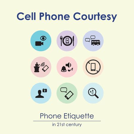 illustration vectorielle des règles de courtoisie cellulaire avec téléphone portable et images symboliques infographie visuelle