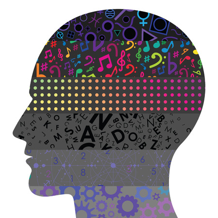 vector illustration of levels in human head with different patterns for psychological cognitive structures visuals