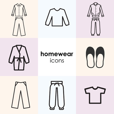 vector illustration of icon set with home clothes and nightwear and including pyjamas homesuits and slippers Illustration