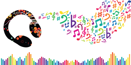 vector illustration for music headphones notes and sound waves for DJ performance or party celebration visuals