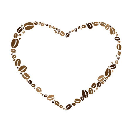 vector illustration for heart shape frame made with coffee beans for blood tension or passion for caffeine