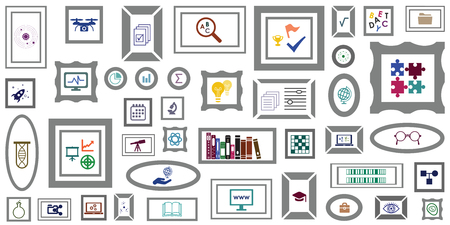 vector illustration of scientific and educational tools online gallery with laboratory and technological innovative equipment symbols Ilustração Vetorial