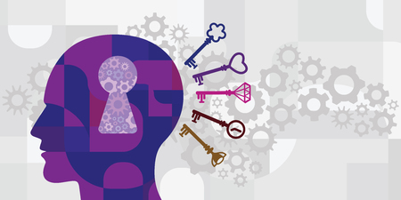 vector illustration of human head with keyhole and different matching keys for psychological science concept