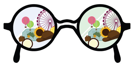 vector illustration of glasses and festival party or travel view for vacation theme
