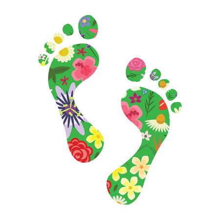 vector illustration of footprints with plants and flowers for nature appreciation and sustainable urban management concept Foto de archivo - 120178611