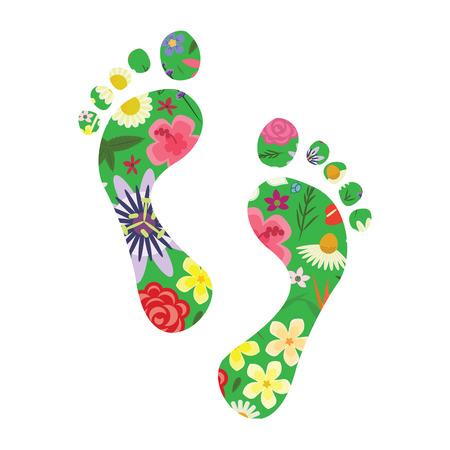 Vektorgrafik von Fußabdrücken mit Pflanzen und Blumen für die Wertschätzung der Natur und ein nachhaltiges Stadtmanagementkonzept Vektorgrafik