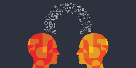 vector illustration of human heads and educational icons items for experience and knowledge exchange concepts Ilustração