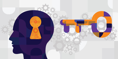 vector illustration of human head and empty keyhole and key with mechanism for thinking and solutions concepts Çizim
