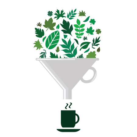 vector illustration of green leaves in filter for natural herbal tea production concepts