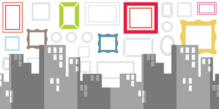 vector illustration of city background and painting frames for street art and urban exhibitions concept