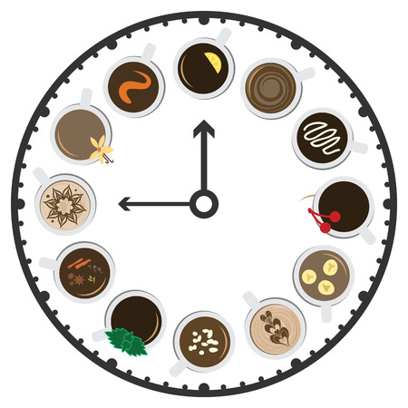 vector illustration of coffee cups and clock for happy hours in cafe menu or social media barista posting 版權商用圖片 - 120178633