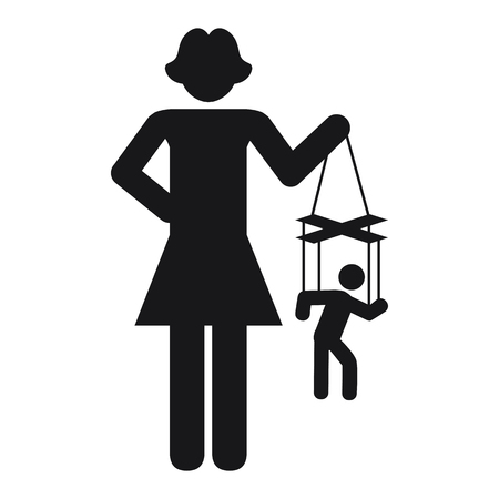 vector illustration of woman with puppet for manipulative relationship and gender issues concept Çizim