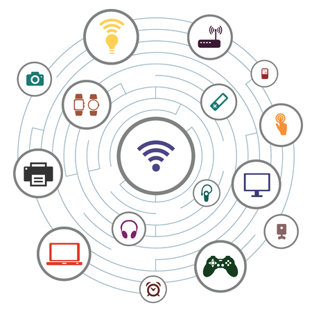 vector illustration of wireless devices maze and wifi symbol in the middle