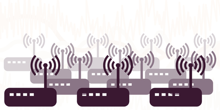 vector illustration of modems and routers sending many wireless signals for network connection visuals Çizim