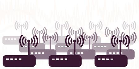 Vektor-Illustration von Modems und Routern, die viele drahtlose Signale für Netzwerkverbindungsvisualisierungen senden Vektorgrafik