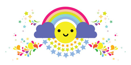 vector illustration of symmetrical colorful rainbows for happiness concept with smiling face emoji