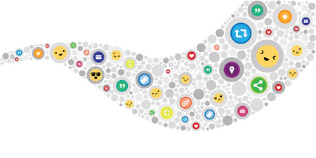 vector illustration of emotion faces and social media icons in stream curved wave shape design