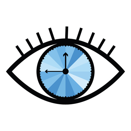 vector illustration of eye with clock inside for time understanding and management