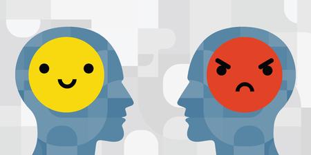 Vektorgrafik von zwei Menschen mit wütenden und glücklichen Gesichtern für komplizierte Beziehungen oder Kommunikationsprobleme Vektorgrafik