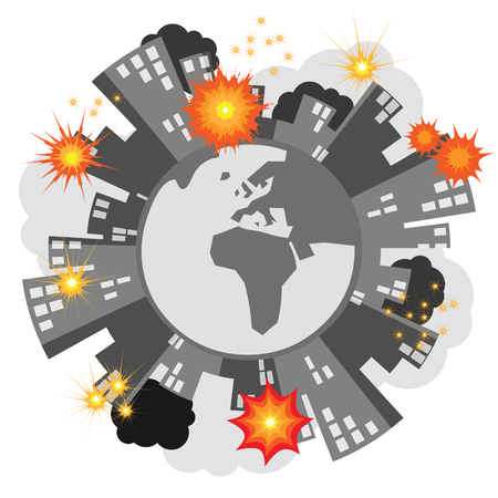vector illustration of burning homes on the planet for ecological disaster and global war and armed conflicts problems concept