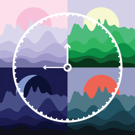vector illustration of clock and four parts of the day  morning noon evening and night