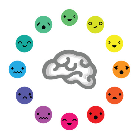 vector illustration of brain and emotions in circle for connection with mental process and feelings