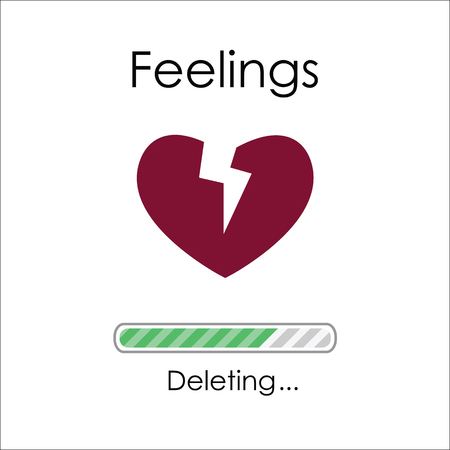 vector illustration of broken heart and loading bar for deleting feelings story concept