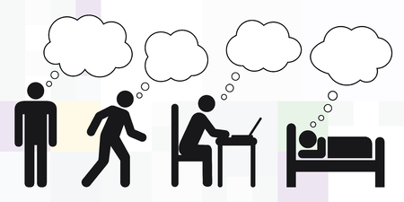 vector illustration of man silhouette and different daily activities with dream thinking bubble