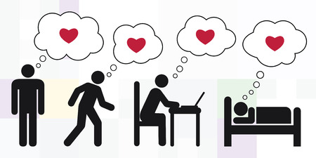 vector illustration of man silhouette and different daily activities with thinking about love and relationship