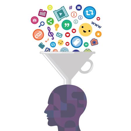 Vektorillustration des menschlichen Kopffilters und der Buchstaben für das Informationsverbrauchs- oder Sprachunterrichtskonzept