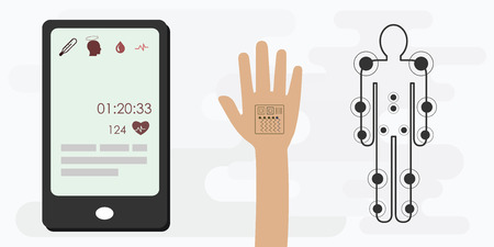 vector illustration of medical patches on hand and body for wearable technologies for health 矢量图像