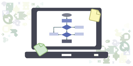 vector illustration of horizontal banner with computer screen and algorithm scheme and sticky notes for coders and programmers work space
