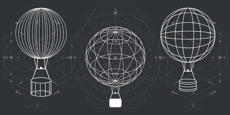 vector illustration of white graphic hot air balloons on geometrical linear dark background