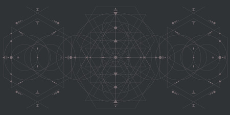 vector illustration of geometrical linear dark background with intersecting lines circles and polygons