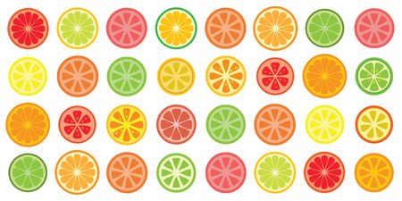 vector illustration of round citrus fruits grid pattern for bright backgrounds  イラスト・ベクター素材