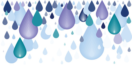 vector illustration of blue water drops dripping for rain or hydration concept Illustration