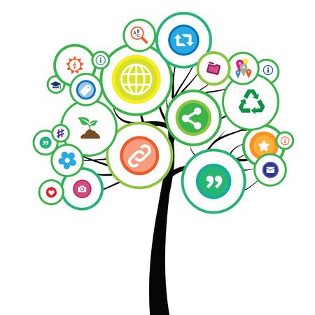 illustrazione vettoriale di albero con social network e icone di internet per il concetto di ecologia dei media Vettoriali