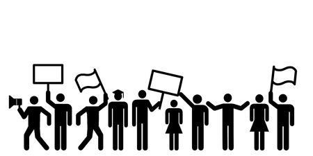 vector illustration of mass protest meeting with people holding tables and placards