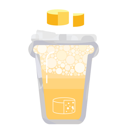 vector illustration for cheese drink in a glass with foam