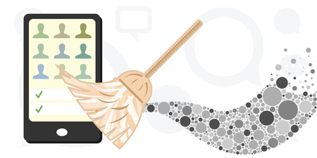 vector illustration of broom and mobile phone for cleaning your device personal data concept Illustration