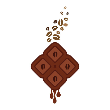 vector illustration of coffee infused chocolate bar for emblems and labels Stock Vector - 120178754