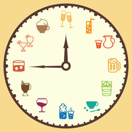 vector illustration of clock with different drink for each hour for menu or party funny concept