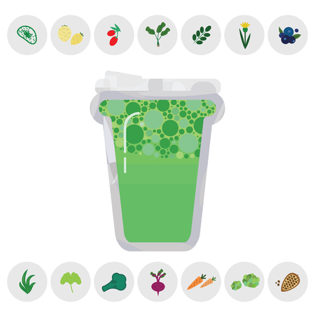 vector illustration of green superfood drink with ingredients symbols for healthy nutrition supplies concept
