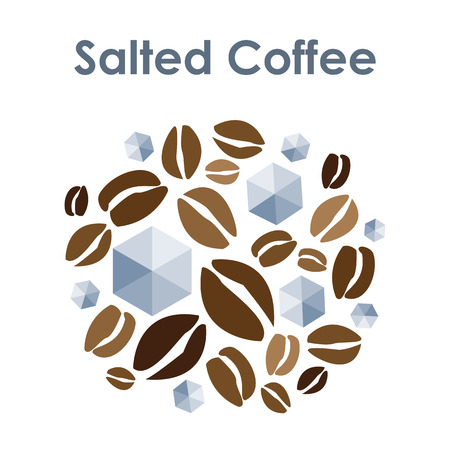 vector illustration for salted coffee mixed circle for round badge or emblem Ilustração