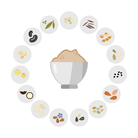 vector illustration of powdered foods like grains seeds or beans for plant based protein supplies concept