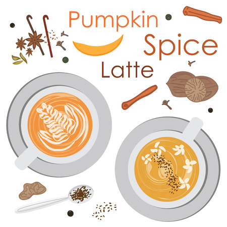 vector illustration for pumpkin spice mixed flavored drink or latte top view 向量圖像