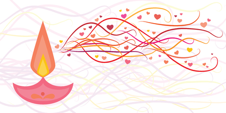 vector illustration of scented candle with stylized aromatic waves with hearts for romantic mood atmosphere or Valentines day decoration
