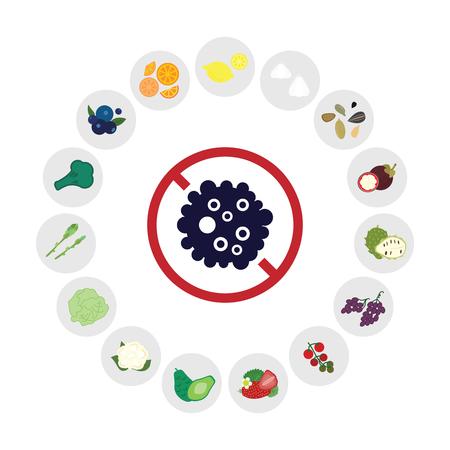 vector illustration of cancer fighting foods like lemon soursop mangosteen in chart design Vecteurs
