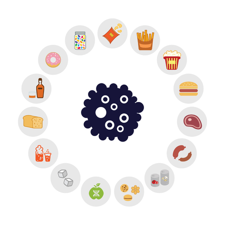 vector illustration of cancer causing foods like alcohol overfired meat in circle chart design Ilustracja