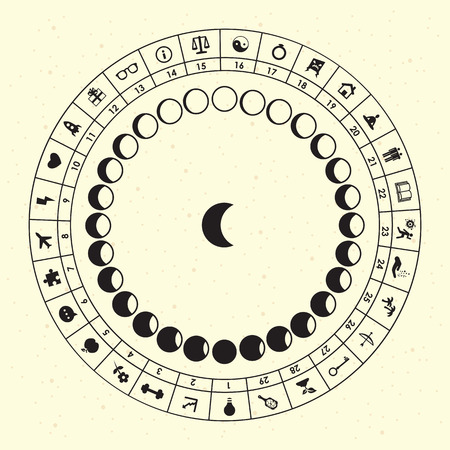 vector horizontal illustration of moon phases and proper activities symbols for astrological design and monthly planning according to lunar calendar Illustration